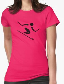 Alpine Skiing Pictogram Womens Fitted T-Shirt