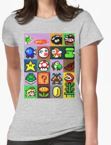 Super Mario Patchwork Womens Fitted T-Shirt