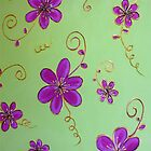 Floral Swirls Hot Pink and Lime by Michelle Potter