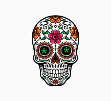 Colorful Sugar Skull & Retro FlowersPattern Background Unisex T-Shirt