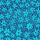 Stylised Floral Design - Cyan and Deep Navy by Artberry