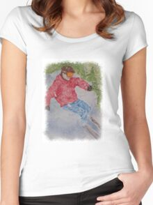 SKIING THE POWDER Women's Fitted Scoop T-Shirt