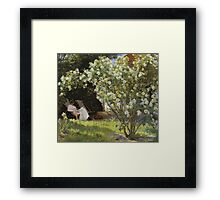 Peder Severin Kroyer - Roses. Garden landscape: garden view, Woman, blossom, nature, botanical park, floral flora, wonderful flowers, Rose, cute plant, garden, flower Framed Print