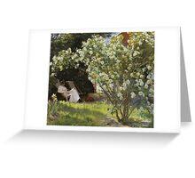 Peder Severin Kroyer - Roses. Garden landscape: garden view, Woman, blossom, nature, botanical park, floral flora, wonderful flowers, Rose, cute plant, garden, flower Greeting Card