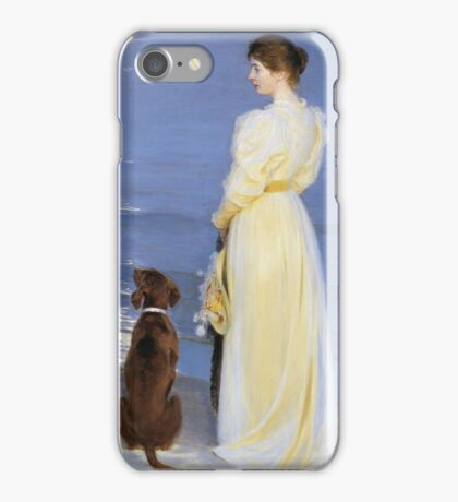 Peder Severin Kroyer - Summer Evening At Oil On Canvas 1892. Woman portrait: sensual woman, Dog, sea, sunset, calm, beautiful dress, anticipation, dream, love, sexy lady, erotic pose iPhone Case/Skin