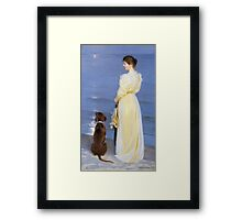 Peder Severin Kroyer - Summer Evening At Oil On Canvas 1892. Woman portrait: sensual woman, Dog, sea, sunset, calm, beautiful dress, anticipation, dream, love, sexy lady, erotic pose Framed Print