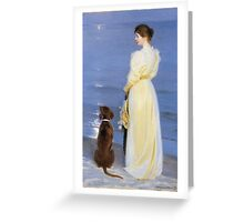 Peder Severin Kroyer - Summer Evening At Oil On Canvas 1892. Woman portrait: sensual woman, Dog, sea, sunset, calm, beautiful dress, anticipation, dream, love, sexy lady, erotic pose Greeting Card