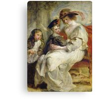 Peter Paul Rubens - Helene Fourment With Two Of Her Children. Mother with kid portrait: woman, well dressed, female,  son, daughter, embrace, family,  hat, memory, mom mum mammy mam, Helene Canvas Print