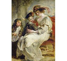 Peter Paul Rubens - Helene Fourment With Two Of Her Children. Mother with kid portrait: woman, well dressed, female,  son, daughter, embrace, family,  hat, memory, mom mum mammy mam, Helene Photographic Print