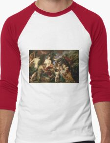 Peter Paul Rubens - Minerva Protects Pax From Mars. People portrait: goddess, greek mythology, war god, god, female and male, children, angel, gods, women and men, wisdom, People Men's Baseball ¾ T-Shirt