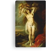Peter Paul Rubens - Andromeda. Woman portrait: sensual woman, Chained, sacrifice, sea , monster, rock,  beautiful, angel, love, sexy lady, erotic pose Canvas Print