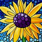 Basking In The Glory - Bright Yellow Sunflower Art By Sharon Cummings by Sharon Cummings