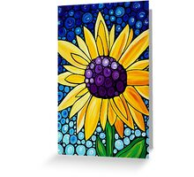 Basking In The Glory - Bright Yellow Sunflower Art By Sharon Cummings Greeting Card