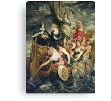 Peter Paul Rubens - The Majority Of Louis Xiii. Woman portrait:  Ship, Sea, Women, Historical Clothing, Breast, Goddess, King, Travel, Faith, Strength, Way Canvas Print