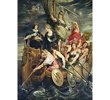 Peter Paul Rubens - The Majority Of Louis Xiii. Woman portrait:  Ship, Sea, Women, Historical Clothing, Breast, Goddess, King, Travel, Faith, Strength, Way Photographic Print
