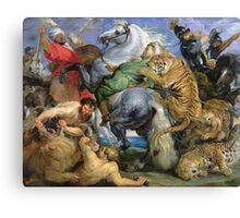 Peter Paul Rubens - The Tiger Hunt. People portrait: Men, horses, soldier, warrior, fight, death, leopard, lion, hunter, armour, spear Canvas Print