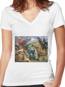 Peter Paul Rubens - The Tiger Hunt. People portrait: Men, horses, soldier, warrior, fight, death, leopard, lion, hunter, armour, spear Women's Fitted V-Neck T-Shirt
