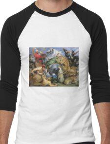 Peter Paul Rubens - The Tiger Hunt. People portrait: Men, horses, soldier, warrior, fight, death, leopard, lion, hunter, armour, spear Men's Baseball ¾ T-Shirt