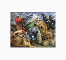 Peter Paul Rubens - The Tiger Hunt. People portrait: Men, horses, soldier, warrior, fight, death, leopard, lion, hunter, armour, spear Unisex T-Shirt