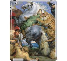 Peter Paul Rubens - The Tiger Hunt. People portrait: Men, horses, soldier, warrior, fight, death, leopard, lion, hunter, armour, spear iPad Case/Skin