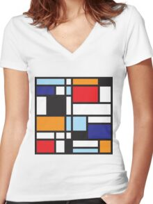 Mondrian Study II Women's Fitted V-Neck T-Shirt