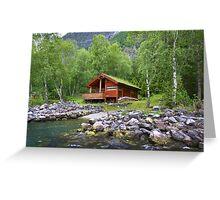 Log Cabin in Skjolden, Norway Greeting Card
