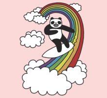 Pandas Surf Rainbows One Piece - Short Sleeve