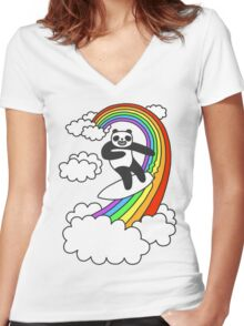 Pandas Surf Rainbows Women's Fitted V-Neck T-Shirt