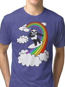 Pandas Surf Rainbows Tri-blend T-Shirt