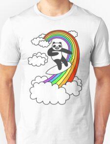 Pandas Surf Rainbows Unisex T-Shirt