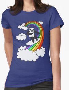 Pandas Surf Rainbows Womens Fitted T-Shirt