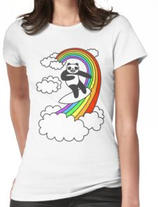 Pandas Surf Rainbows Womens Fitted T-Shirt