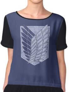 °MANGA° Attack On Titan Denim Logo Chiffon Top