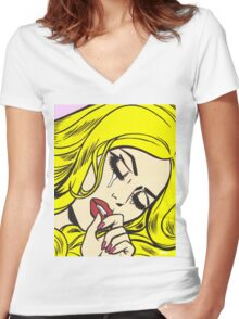 Blonde Crying Comic Girl Women's Fitted V-Neck T-Shirt