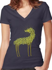 Tree horse with sunburst Women's Fitted V-Neck T-Shirt