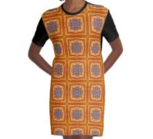 Orange & Blue Graphic T-Shirt Dress