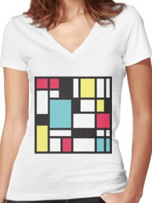 Mondrian Study III Women's Fitted V-Neck T-Shirt