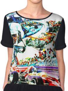 """MONACO"" Grand Prix Auto Races Print Chiffon Top"