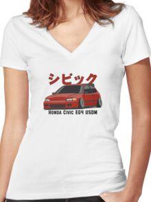 Honda Civic Hatchback on DropMode (red) Women's Fitted V-Neck T-Shirt