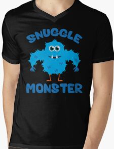 Snuggle Monster (Blue) Mens V-Neck T-Shirt