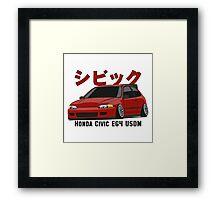 Honda Civic Hatchback on DropMode (red) Framed Print