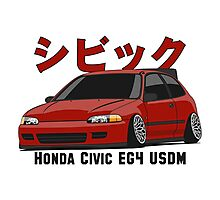 Honda Civic Hatchback on DropMode (red) Photographic Print