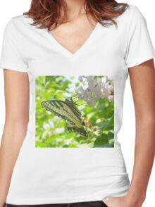 Butterfly02 Women's Fitted V-Neck T-Shirt