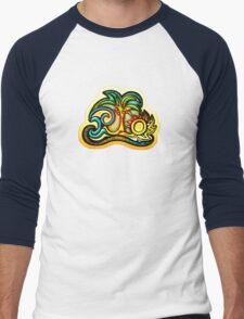Rio de Janeiro, Brazil, Waves, Palm, Sun Men's Baseball ¾ T-Shirt