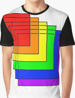 Overlapping Rainbow Squares  Graphic T-Shirt