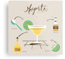 Margarita Recipe Retro Vintage Graphic Metal Print