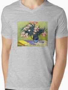 'Still Life with Oleander' by Vincent Van Gogh (Reproduction) Mens V-Neck T-Shirt