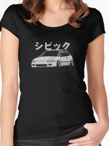 Honda Civic Hatchback on DropMode (silver) Women's Fitted Scoop T-Shirt