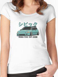 Honda Civic Hatchback on DropMode (aquamarine) Women's Fitted Scoop T-Shirt