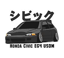 Honda Civic Hatchback on DropMode (black) Photographic Print